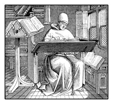 Medieval monk copying an ancient manuscript, vintage engraving